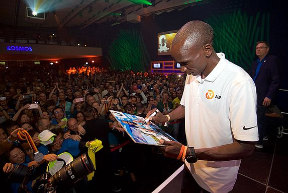 Eilud Kipchoge was one of the stars at the 2018 BMW BERLIN MARATHON Post-Race party