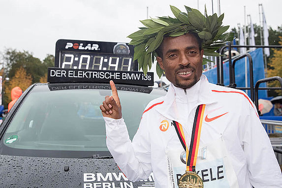 Kenenisa Bekele wins the BMW BERLIN-MARATHON 2019